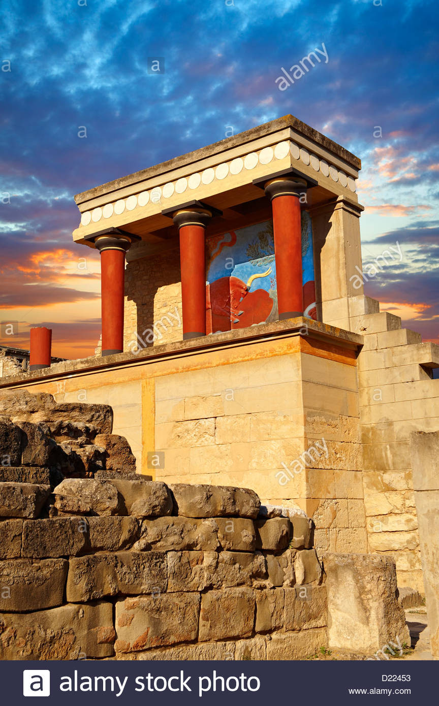 Arthur Evans Rekonstruktion der Nouth Propylaeum Knossos minoische Ausgrabungsstätte, Crete Stockbild