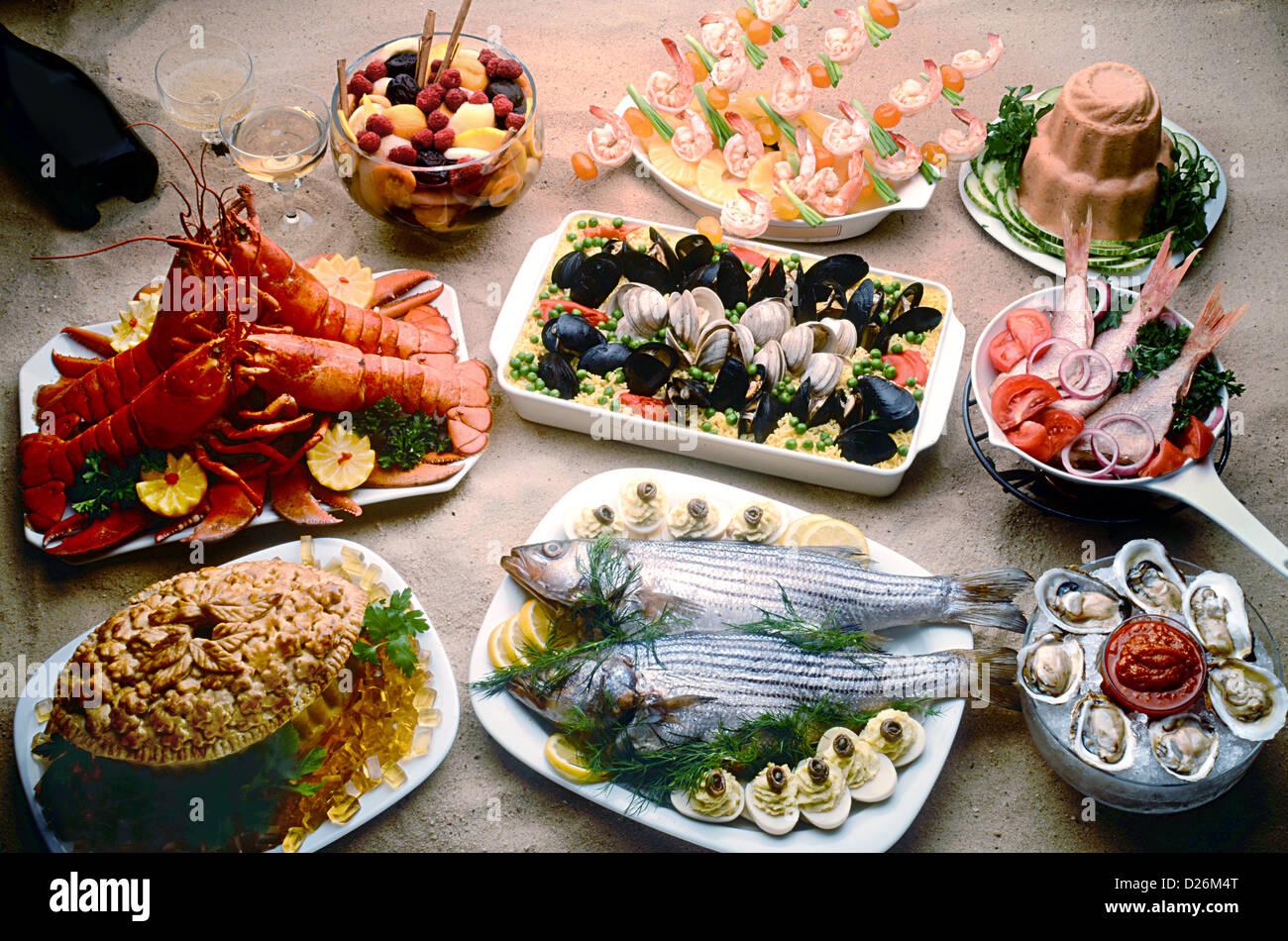Meeresfrüchte auf sand Stockbild