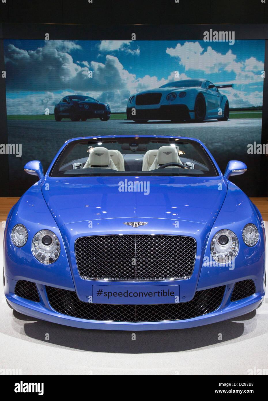 Der Bentley Continental GT Speed Convertible auf dem Display auf der North American International Auto Show Stockbild