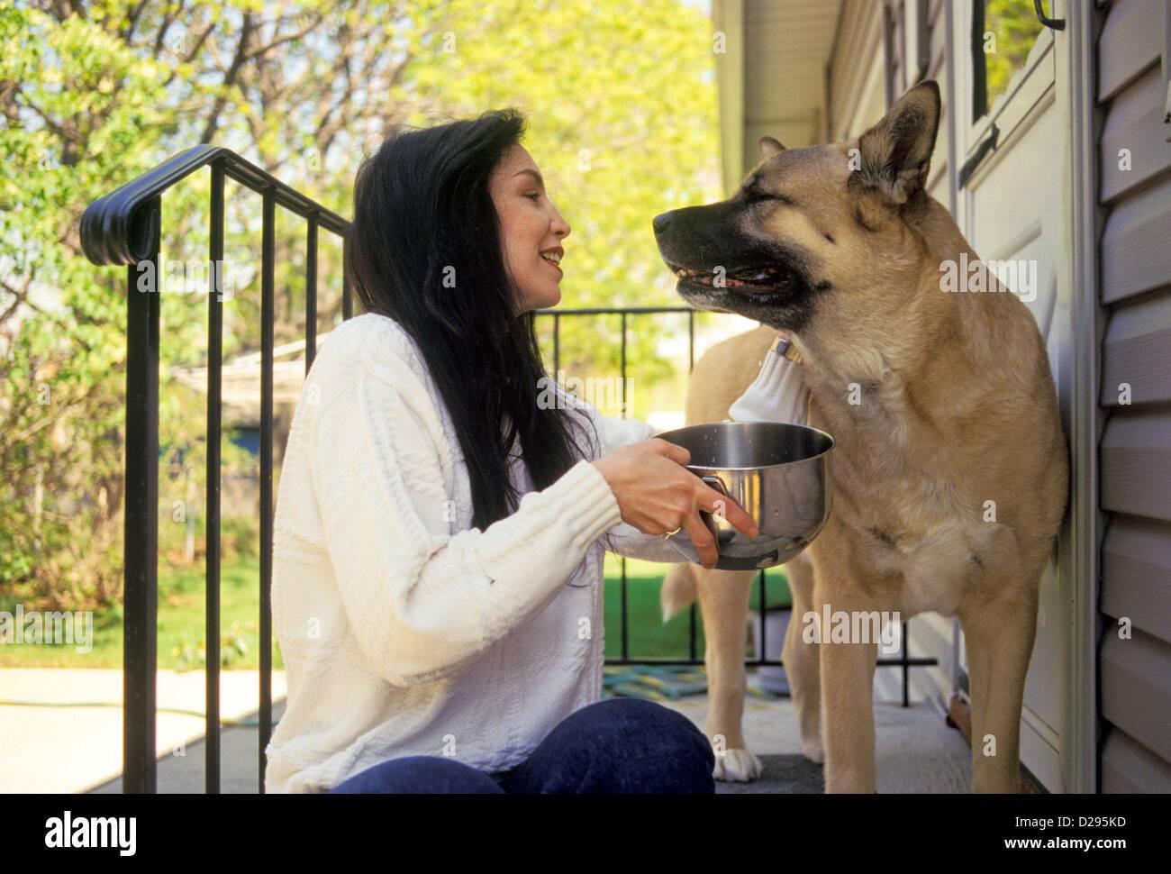 Frau In ihren 30ern betrachten ihren Hund und bieten ihm Wasser Stockbild