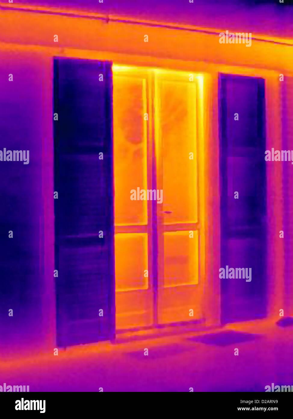 Wärmebild von Türen Stockbild
