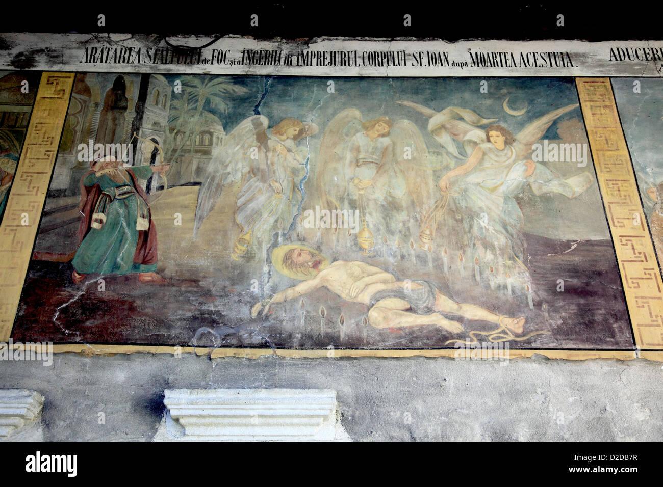 Wandbild Paintung, Flodor Iancu, Suceava, Rumänien, Kloster St. Gheorghe, schwarze SF Gheorghe Mirauiti, in Stockbild