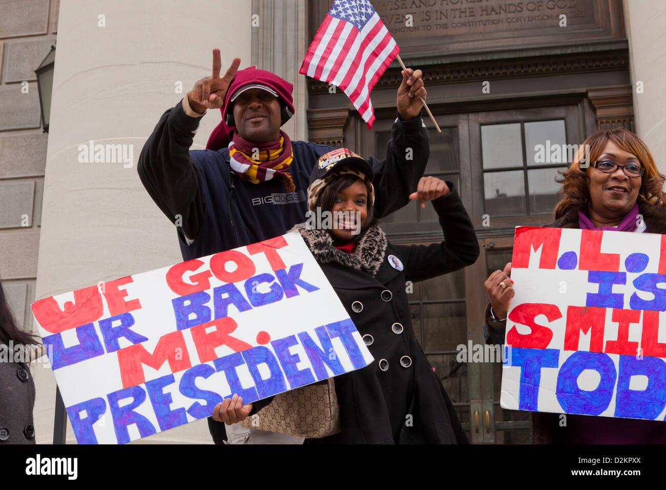 Obama-Fans feiern Stockbild