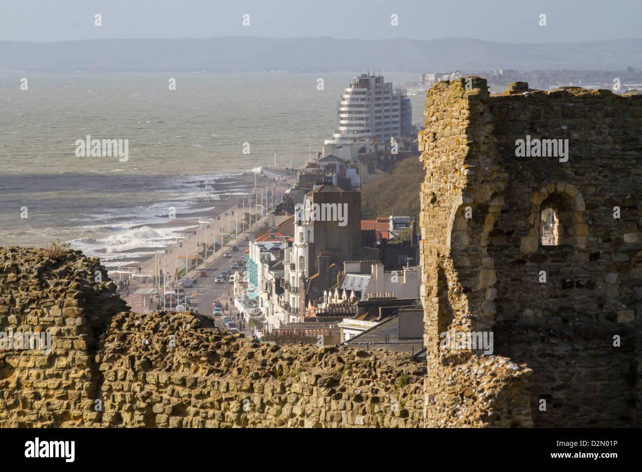 Blick von Burg, Hastings, Sussex, England, Vereinigtes Königreich, Europa Stockbild