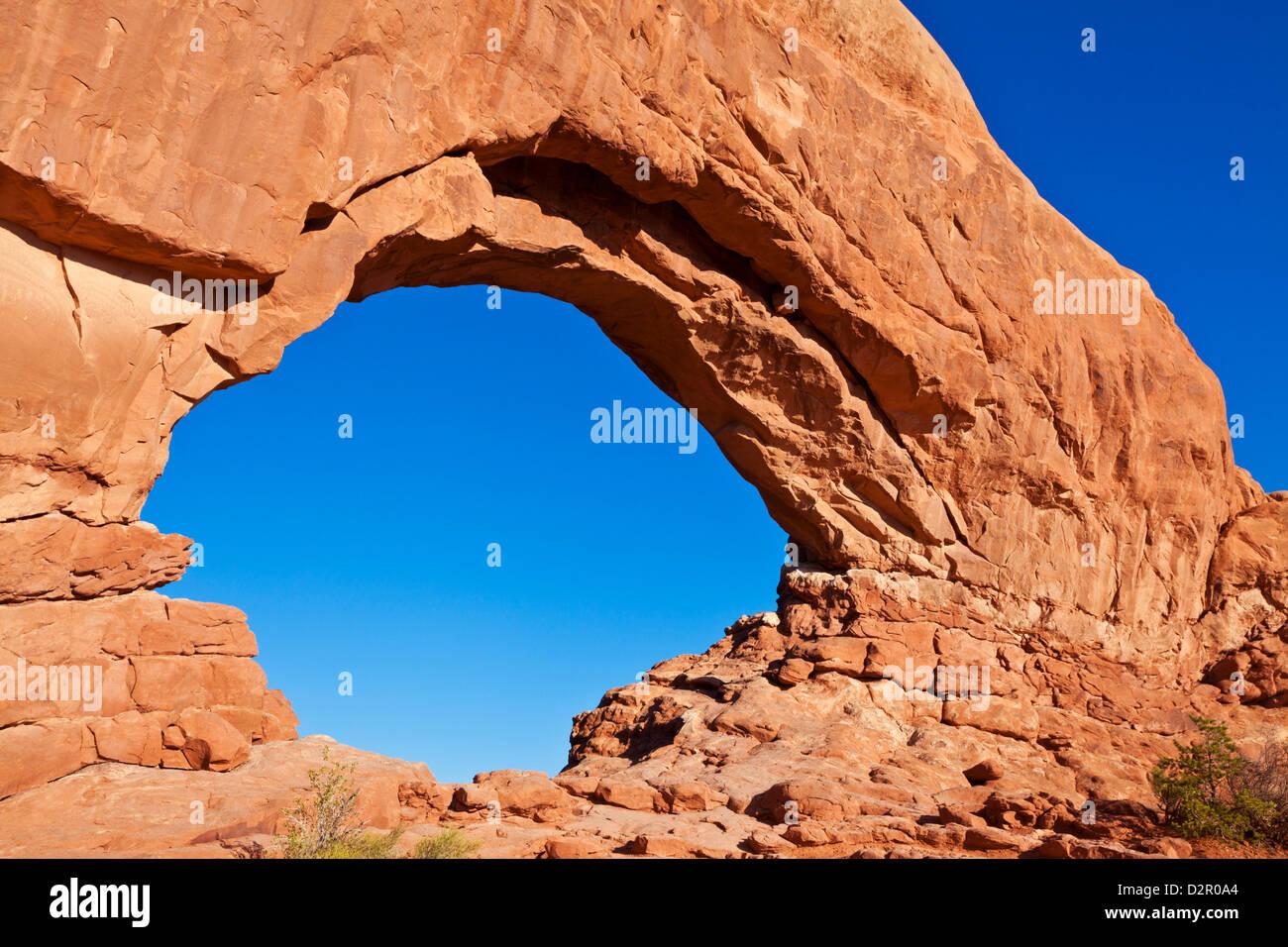 Norden Fensterbogen, Arches-Nationalpark in der Nähe von Moab, Utah, Vereinigte Staaten von Amerika, Nordamerika Stockbild
