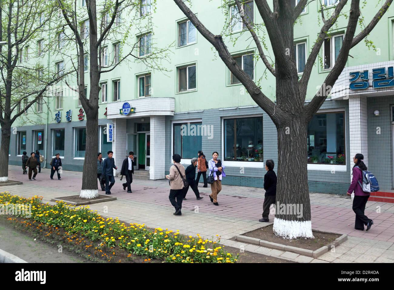 Typische Straßenszene, Pyongyang, Demokratische Volksrepublik Korea (DVRK), Nordkorea, Asien Stockbild