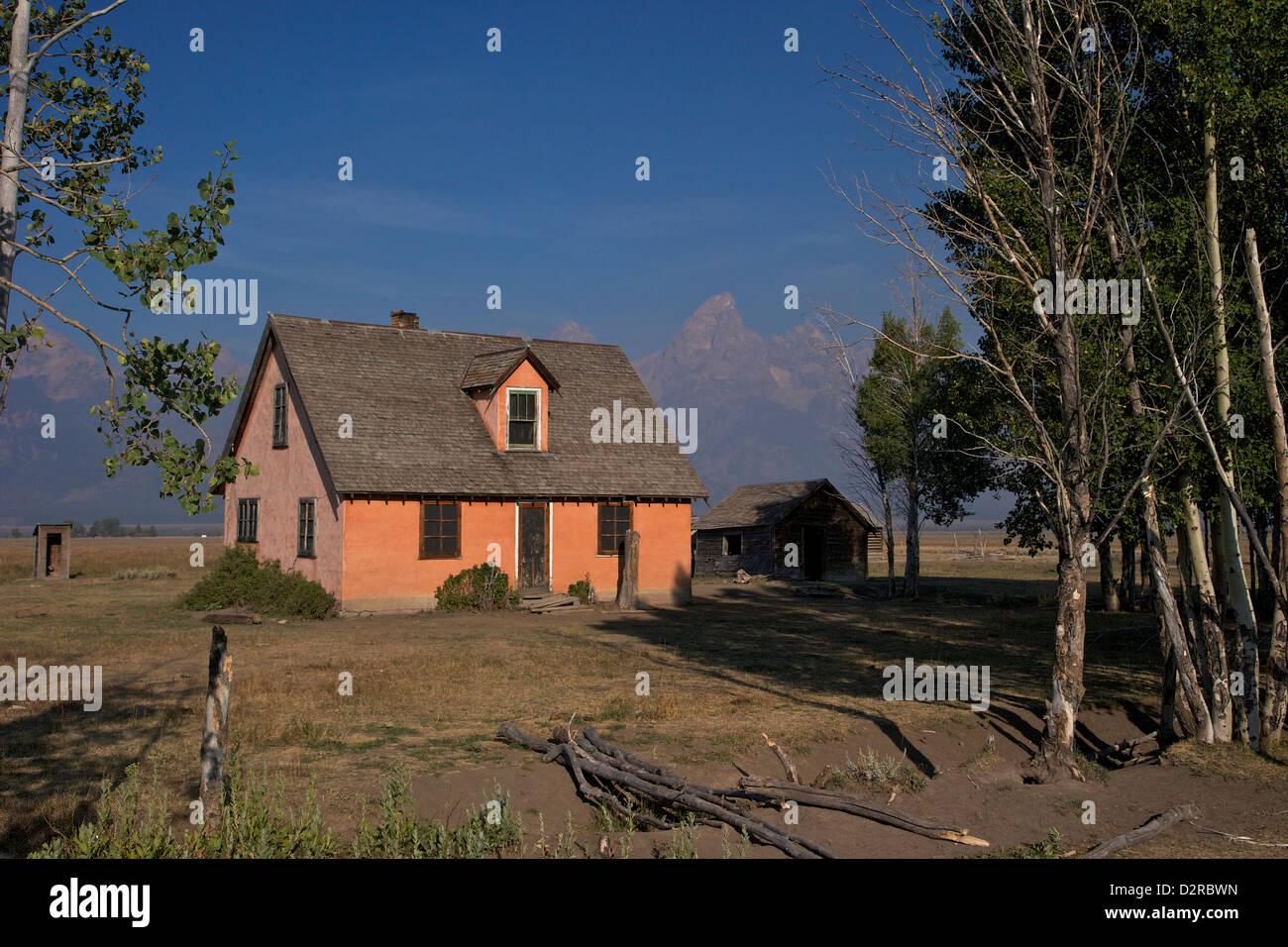 John und Bartha Moulton Homestead, Mormonen Reihe historisches Viertel, Grand-Teton-Nationalpark, Wyoming, USA Stockbild