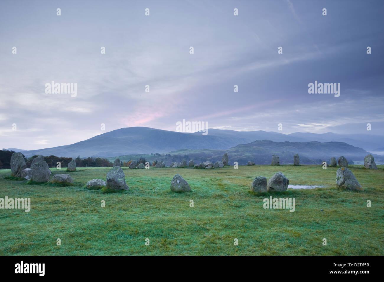 Castlerigg Steinkreis in den Lake District National Park, Cumbria, England, Vereinigtes Königreich, Europa Stockbild