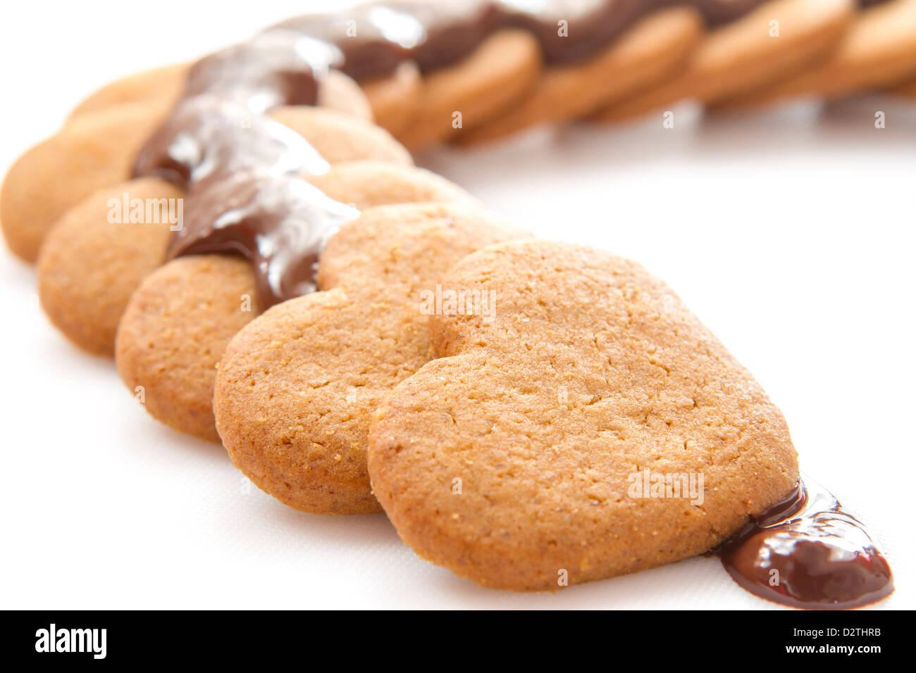 Schokoladenkekse auf weißen Tisch Stockbild