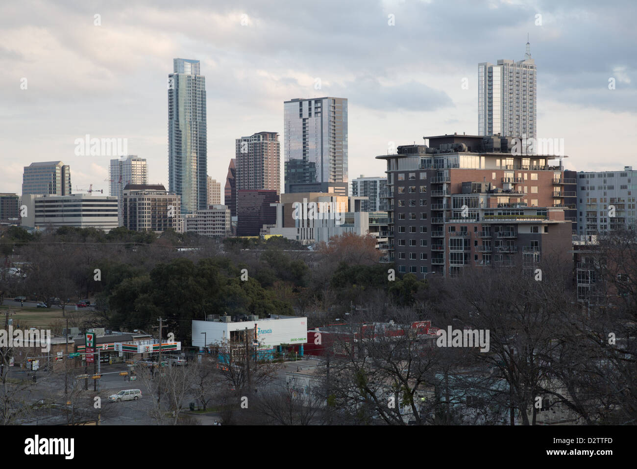 Austin, Texas Skyline bei Sonnenuntergang Stockbild