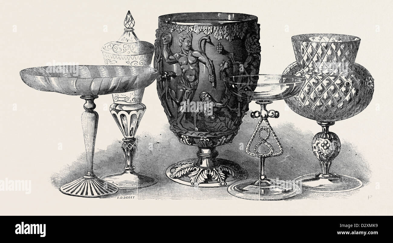 RÖMISCHEN UND VENEZIANISCHEN GLAS, DIE AUSSTELLUNG DER ANTIKEN UND MITTELALTERLICHEN KUNST Stockbild