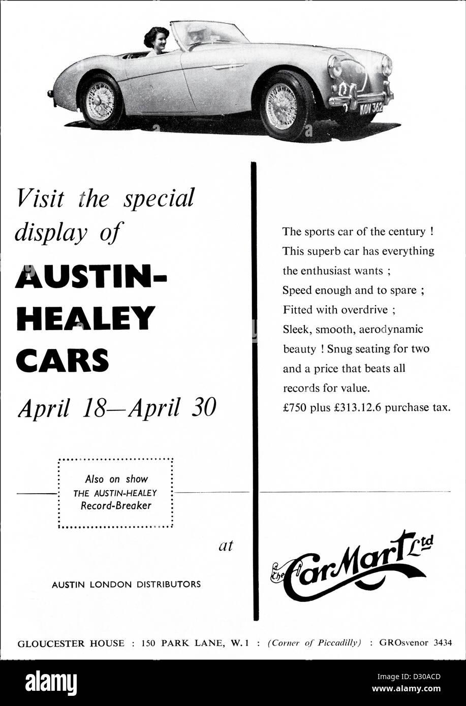 Original 1950er Jahre Vintage print Werbung aus englischen Magazin Werbung AUSTIN HEALEY Fahrzeuge Stockbild