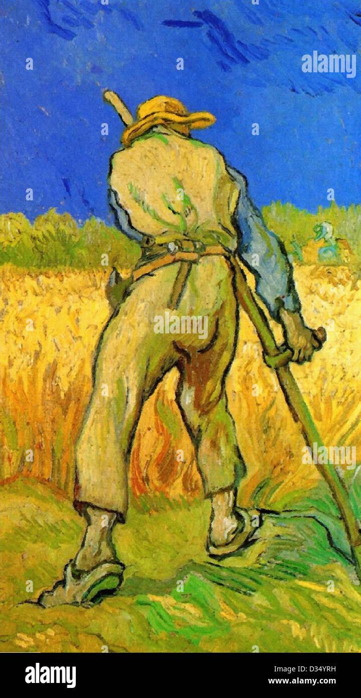 Vincent Van Gogh, der Schnitter nach Millet. 1889. Post-Impressionismus. Öl auf Leinwand. Memorial Art Gallery Stockbild