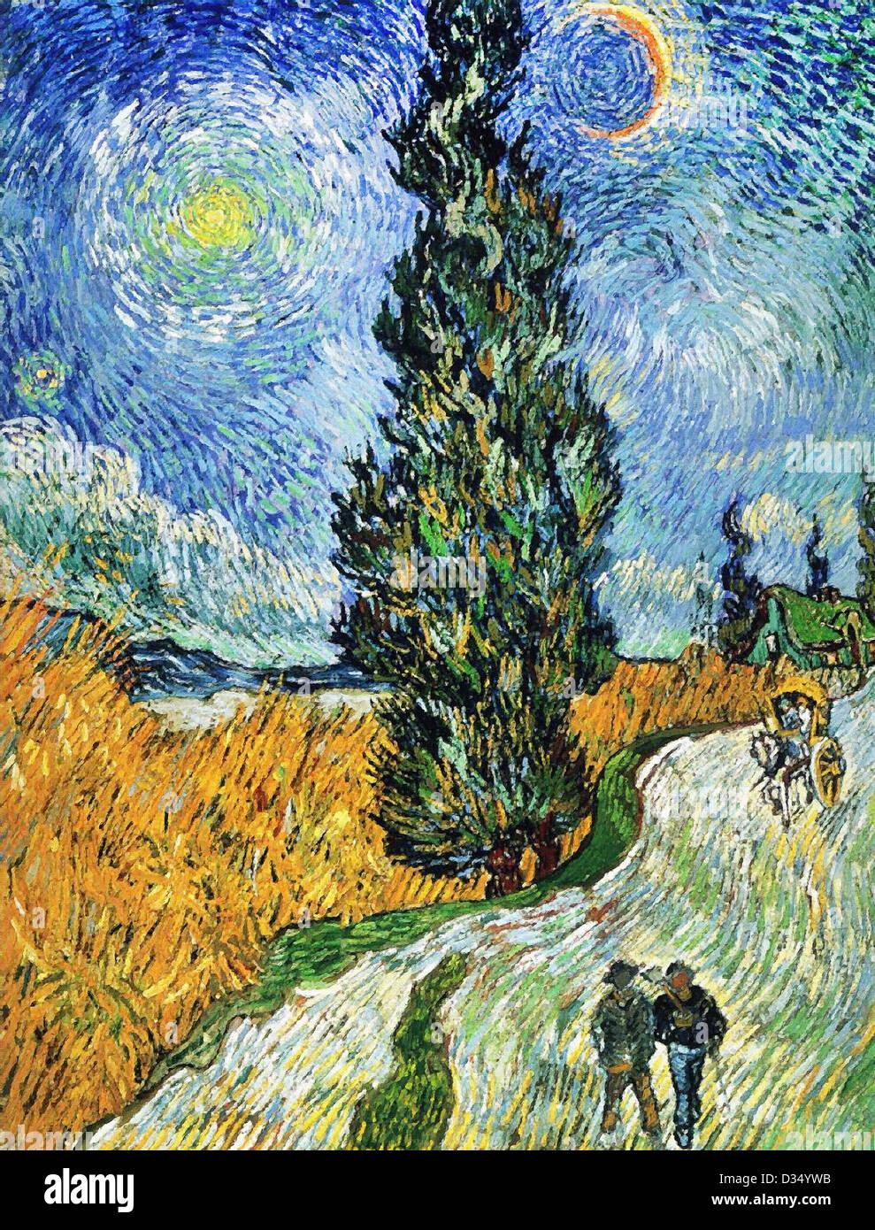 Vincent Van Gogh Straße mit Zypressen. 1890. Post-Impressionismus. Öl auf Leinwand. Rijksmuseum Kröller Stockbild