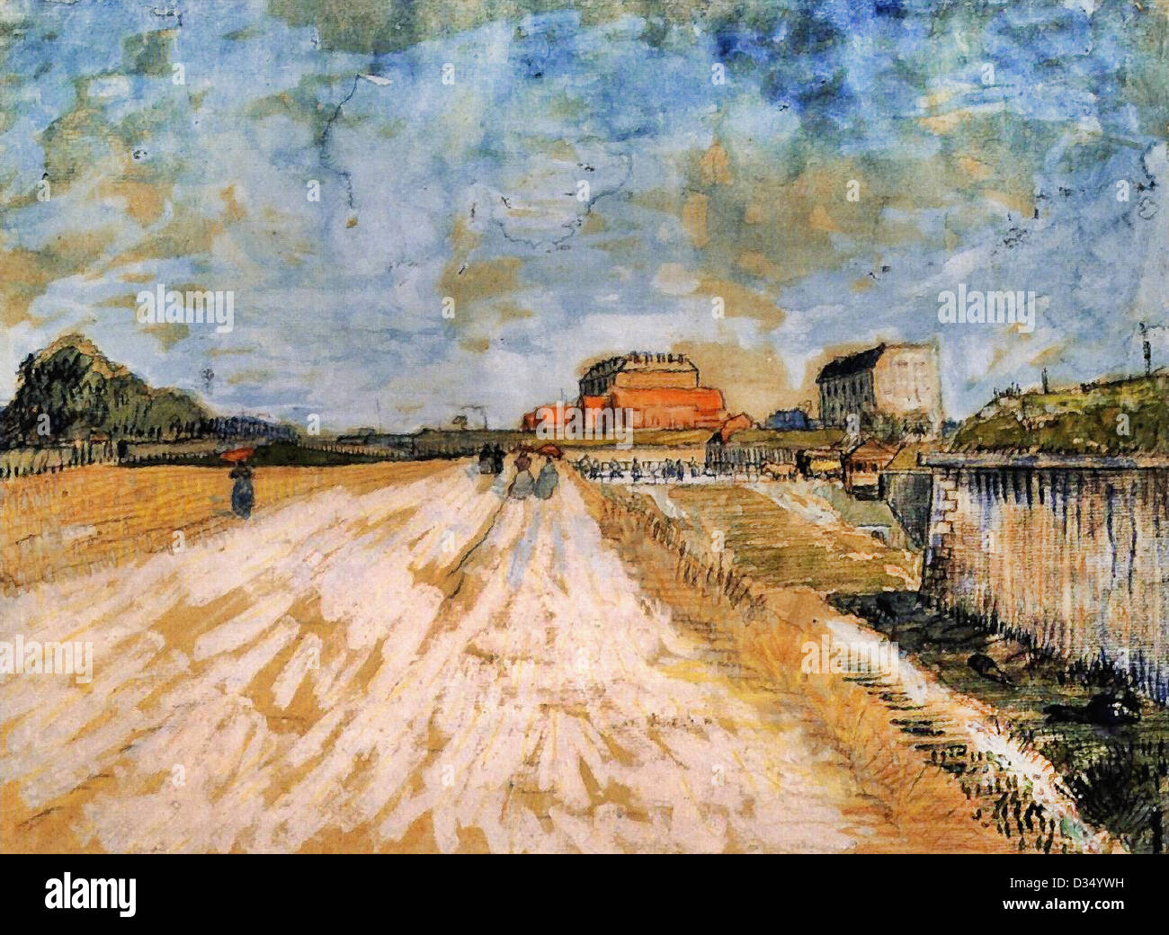 Vincent Van Gogh, Straße laufen neben the Paris Wälle. 1887. Post-Impressionismus. Aquarell. Van Gogh Stockbild