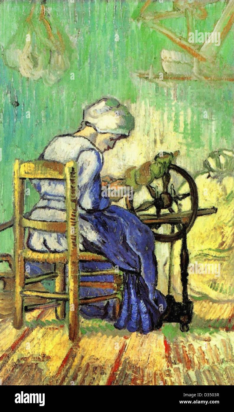 Vincent Van Gogh, der Spinner (nach Millet). 1889. Post-Impressionismus. Öl auf Leinwand. Ort der Schöpfung: Stockbild