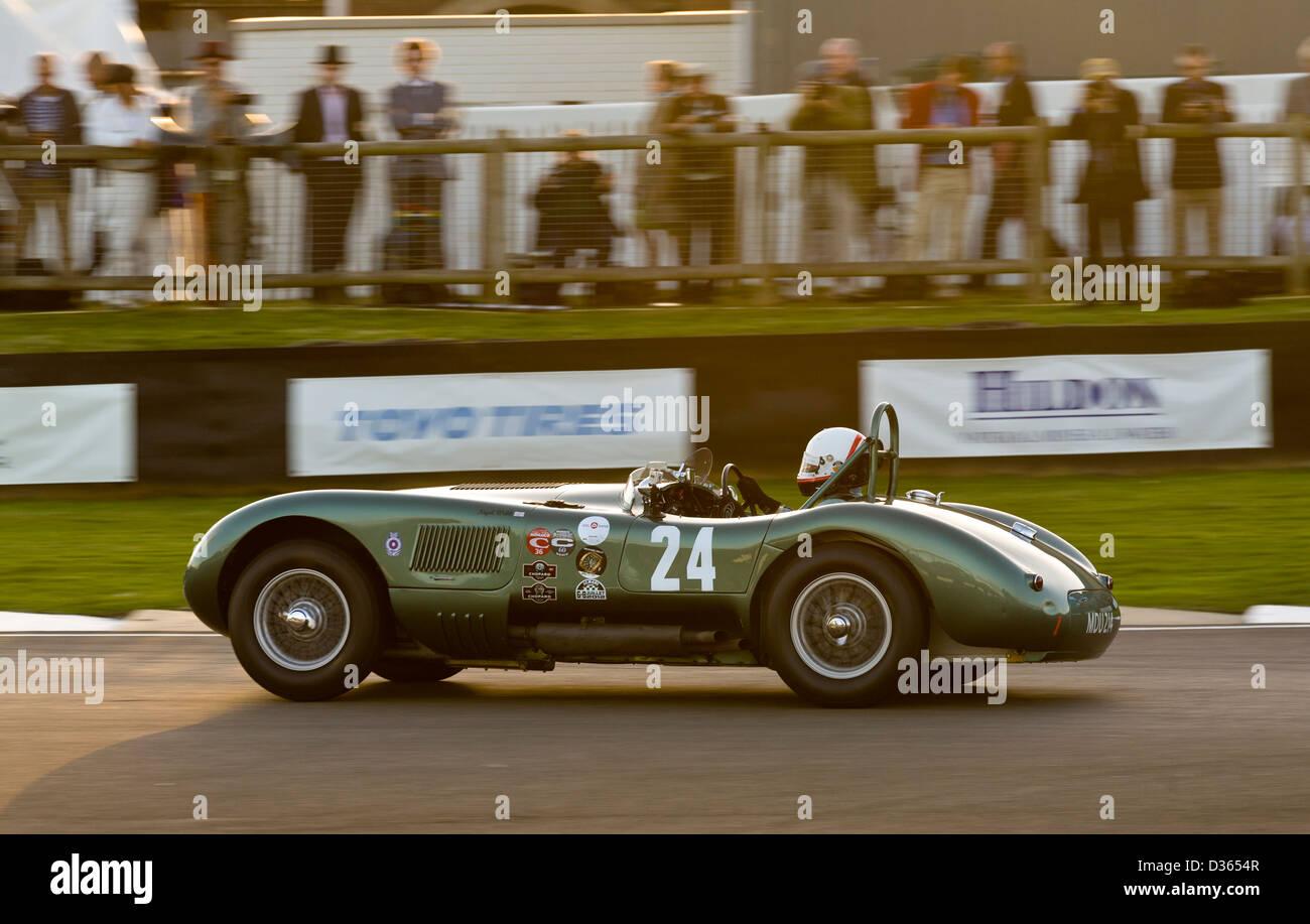 1952 Jaguar C-Type während des Rennens Freddie März Memorial Trophy 2012 Goodwood Revival, Sussex, UK Stockbild