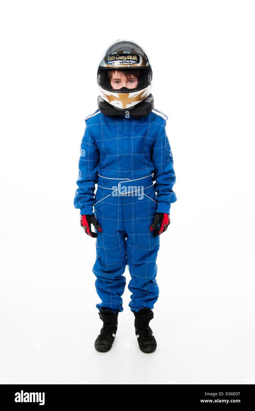 Kind Motorsport Schutzkleidung tragen Stockbild