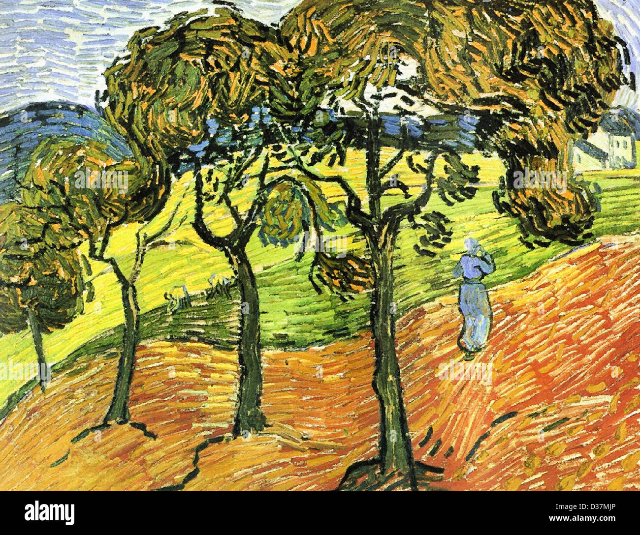 vincent van gogh landschaft mit b umen und figuren 1889 post impressionismus l auf leinwand. Black Bedroom Furniture Sets. Home Design Ideas