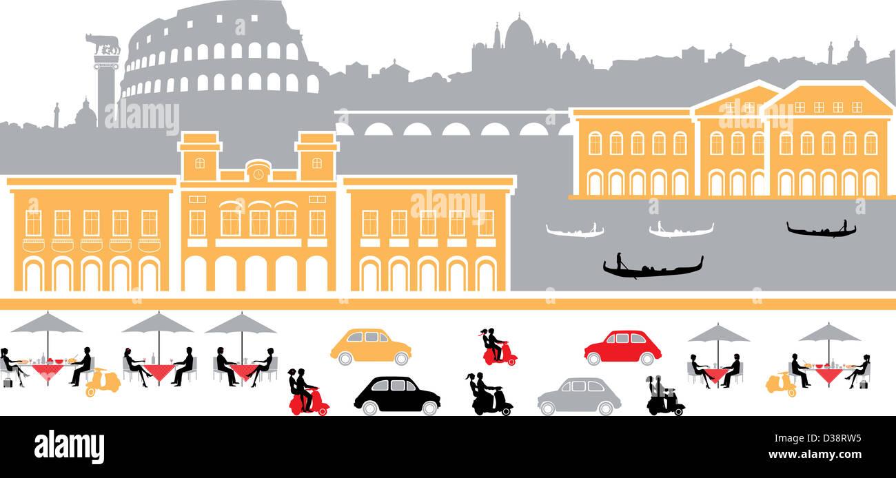 Montage-Sehenswürdigkeiten in der Stadt, Rom, Italien Stockbild