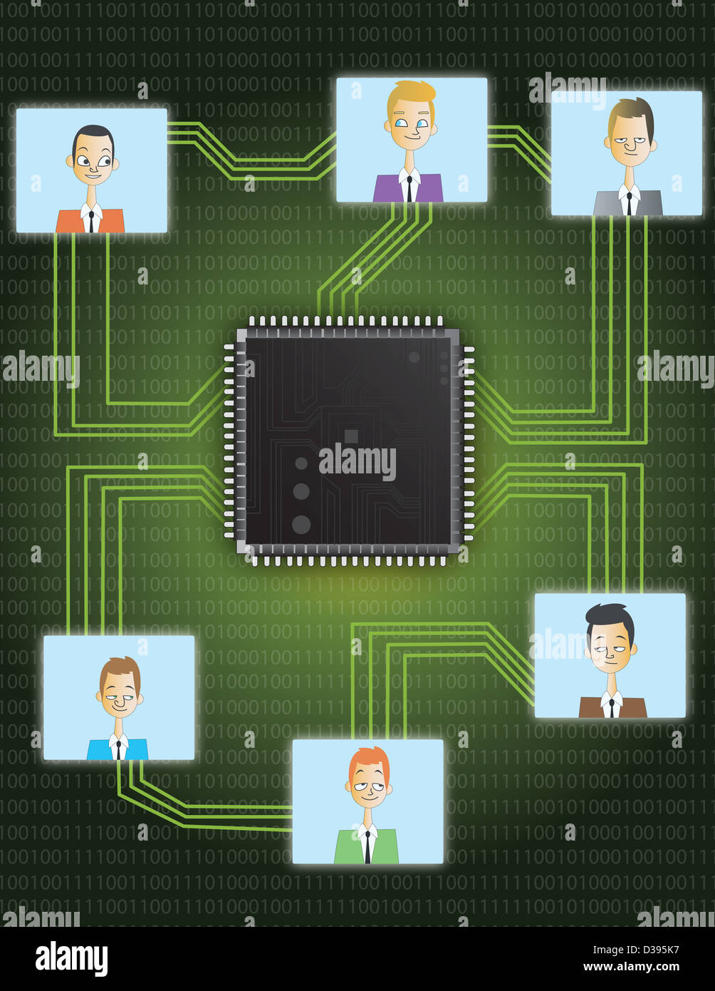 Illustration der Platine zeigt Geschäftsverbindungen Stockbild