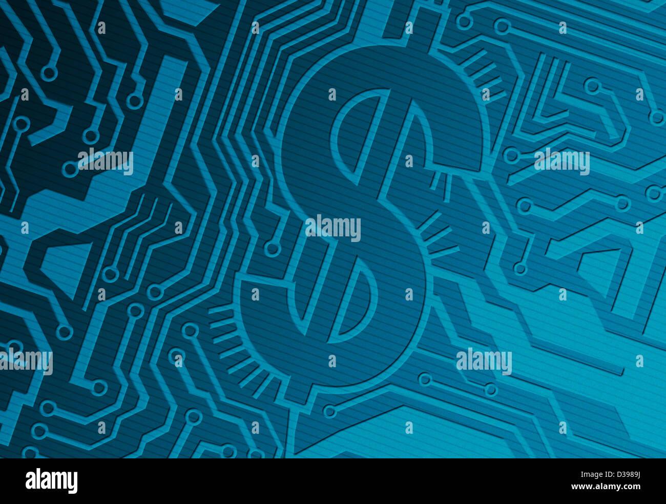 Blaue Computer-Platine mit Dollar-Symbol repräsentiert Industrie Stockbild