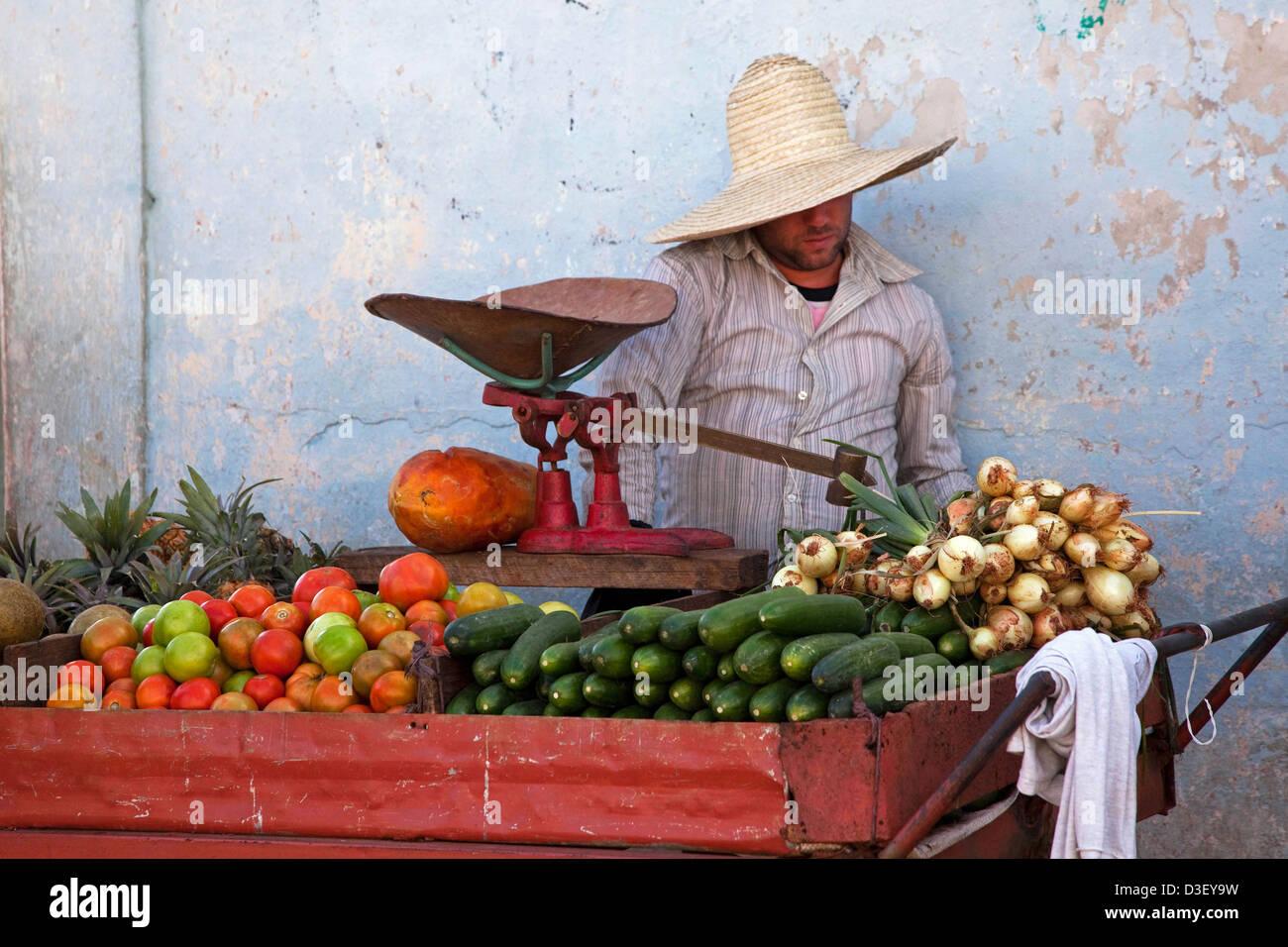 Kubanischen Anbieter verkaufen frisches Obst und Gemüse am Markt stall in Viñales, Kuba, Karibik Stockbild