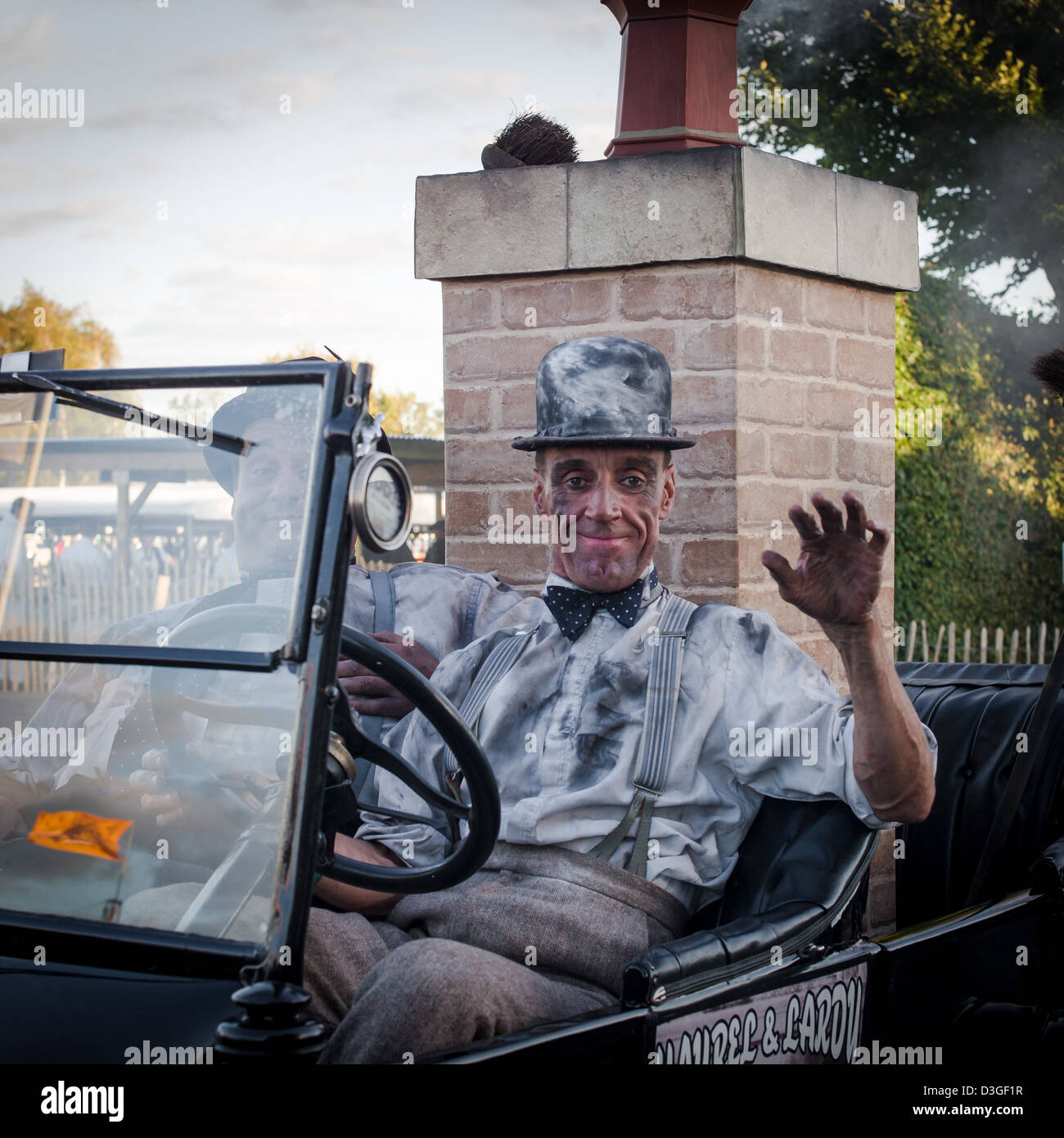 Laurel und Hardy beim Goodwood Revival Stockbild