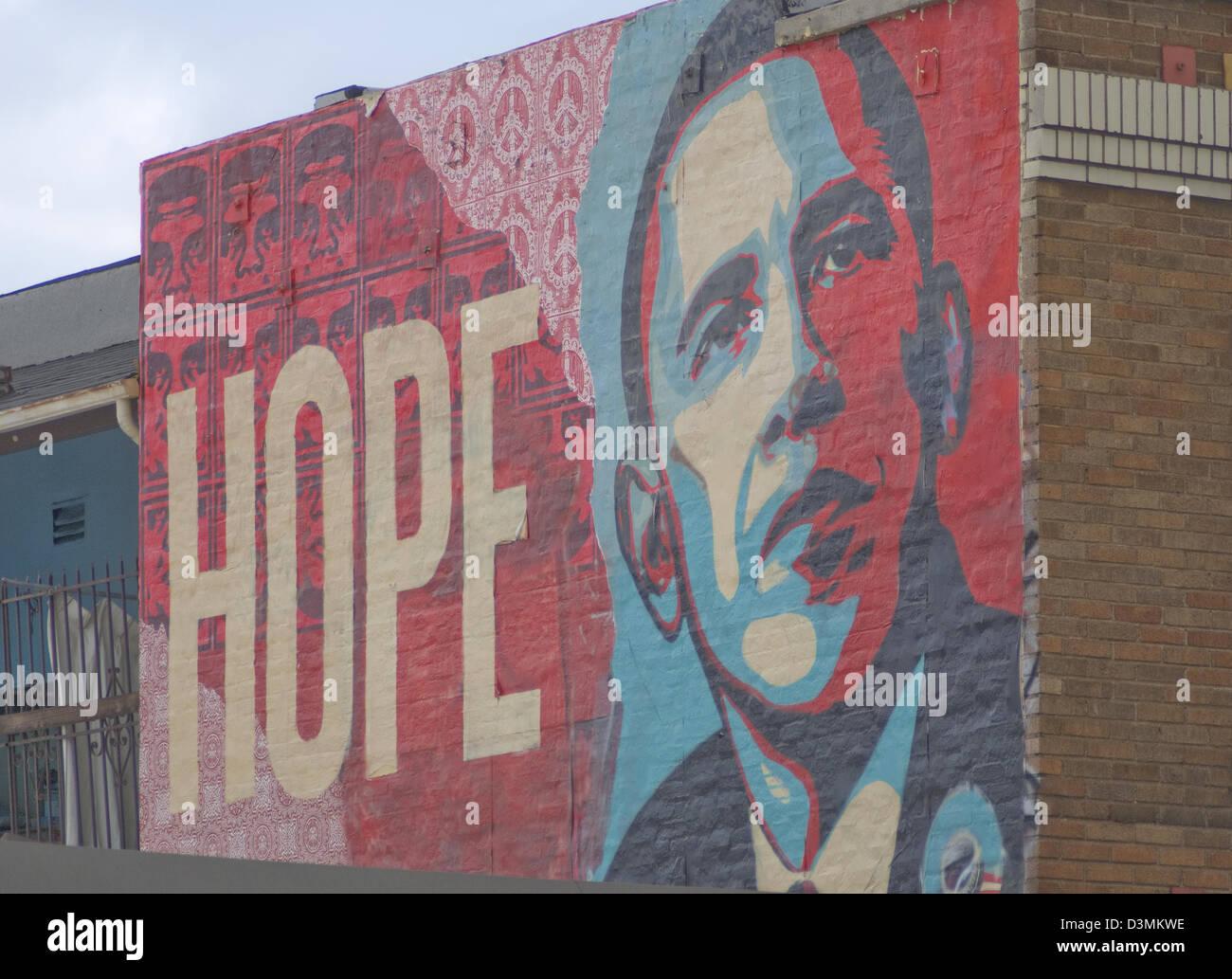 Shepard Fairey Barack Obama hoffen Wandbild am Hollywood Boulevard in Los Angeles Kalifornien Stockbild