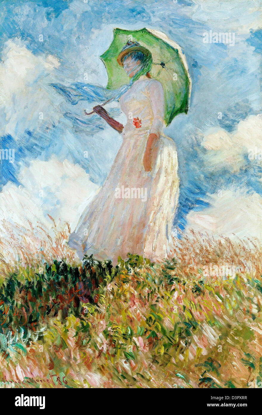 Claude Monet Studie Einer Figur Im Freien Frau Mit Sonnenschirm