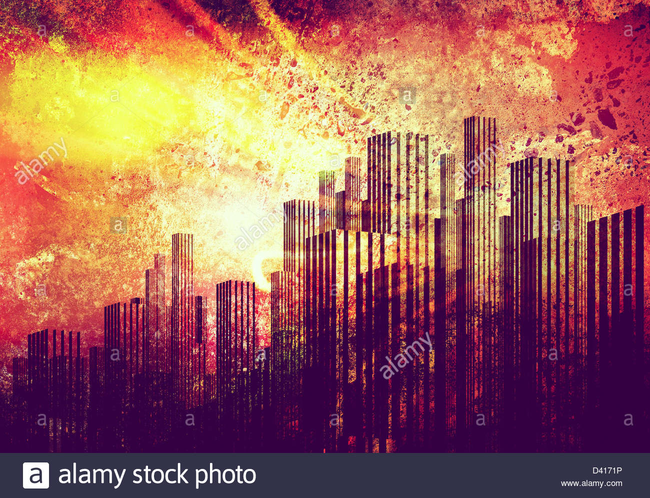 Skyline von Grunge Stockbild