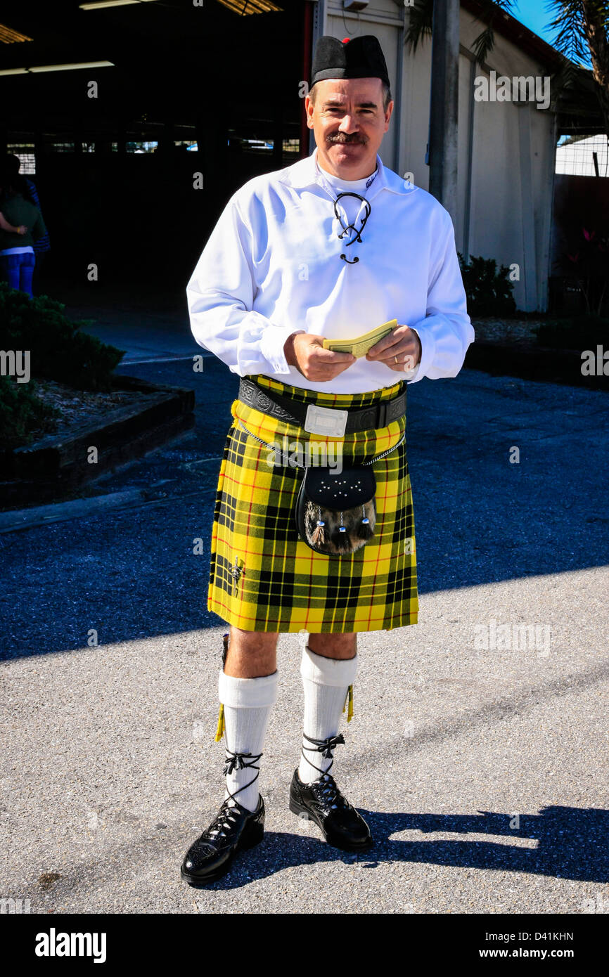 Mann in seinem Kilt an den Highland-Games Sarasota in Florida Stockbild