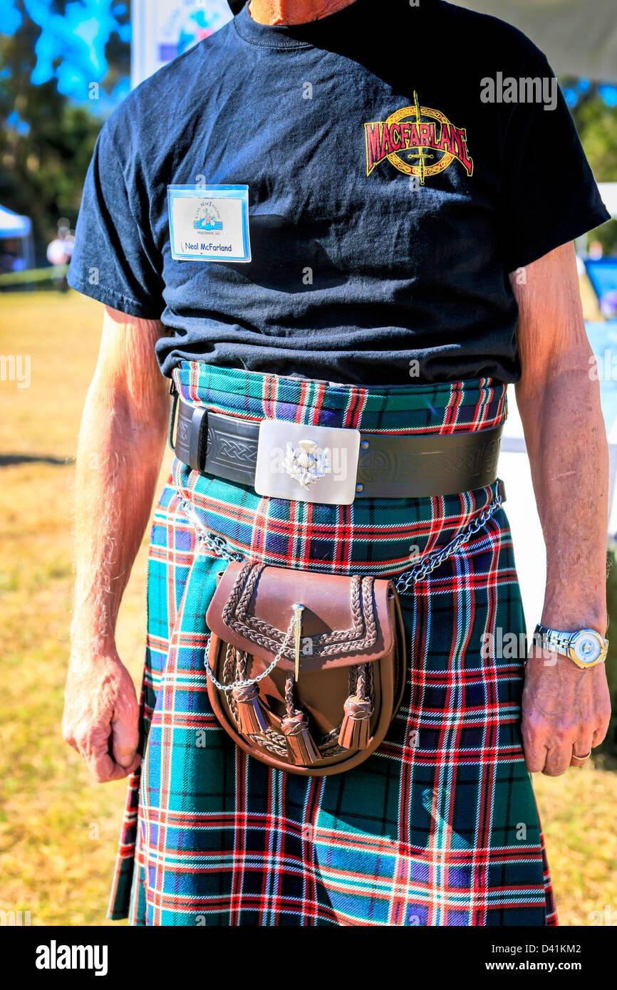 Mann in seinem MacFarlane Kilt an den Highland-Games Sarasota in Florida Stockbild