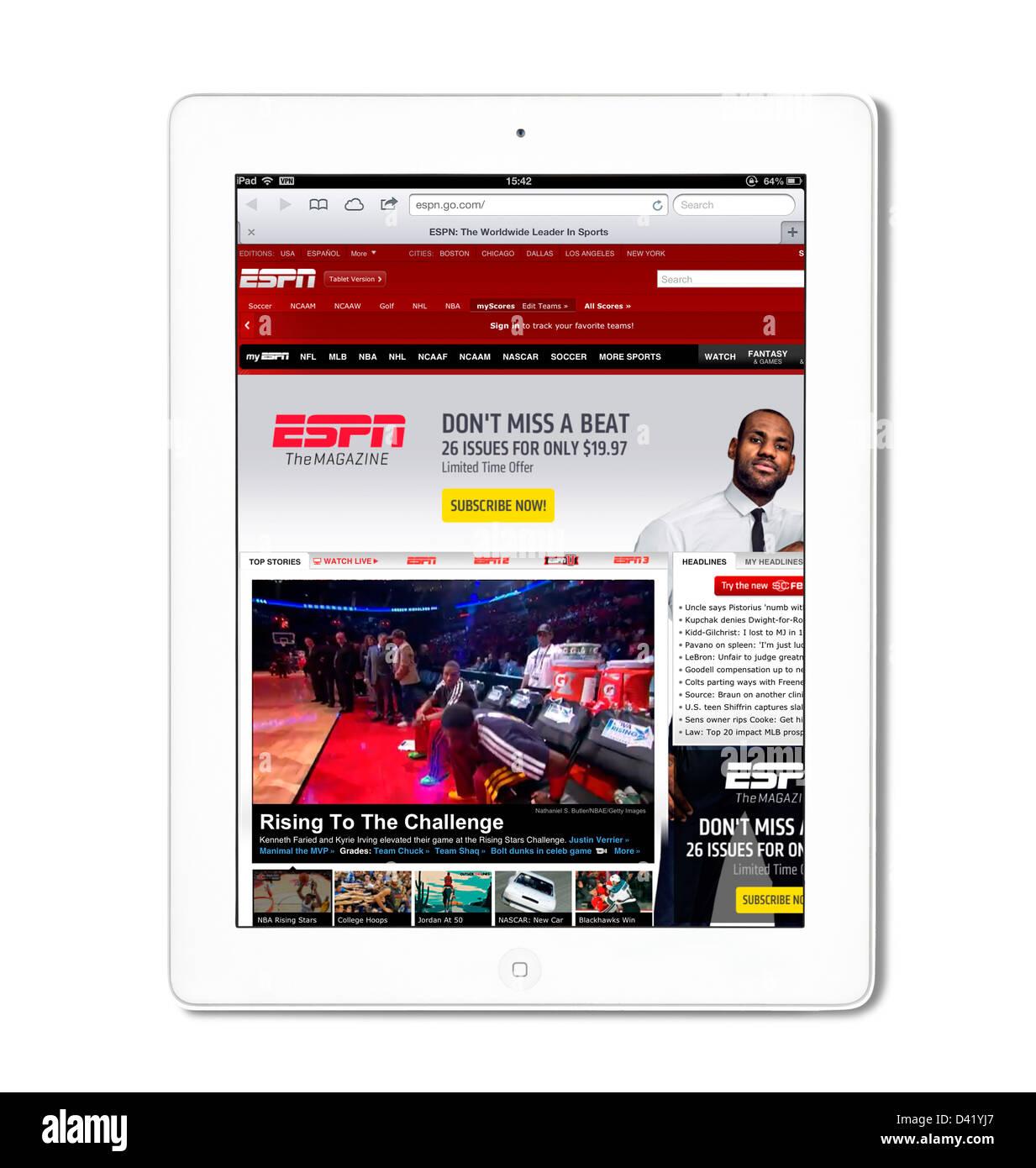 Die Website für ESPN Sports betrachtet auf einem iPad 4 Stockbild