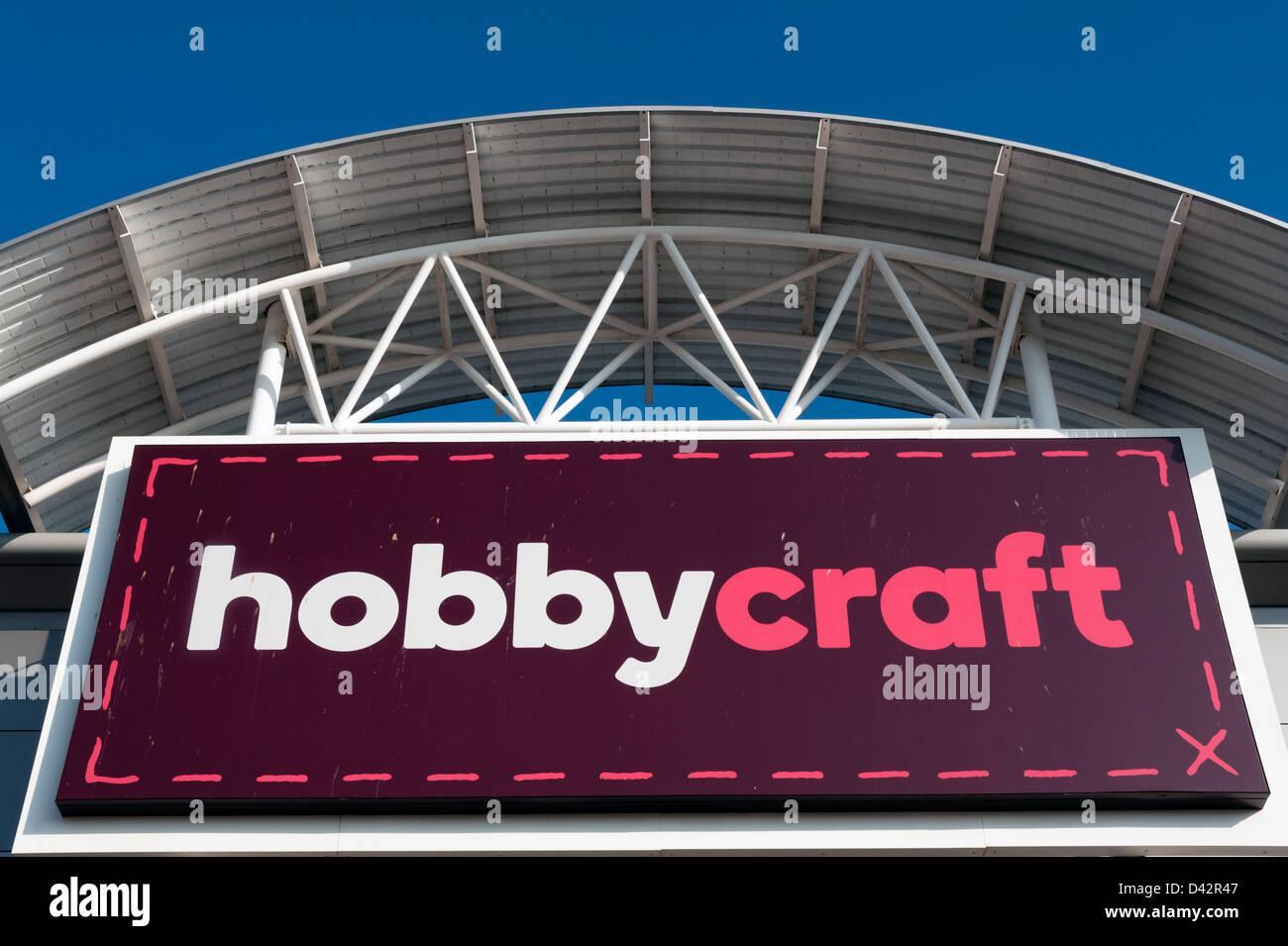 Hobby-Bastelladen in Hereford, Großbritannien. Stockbild