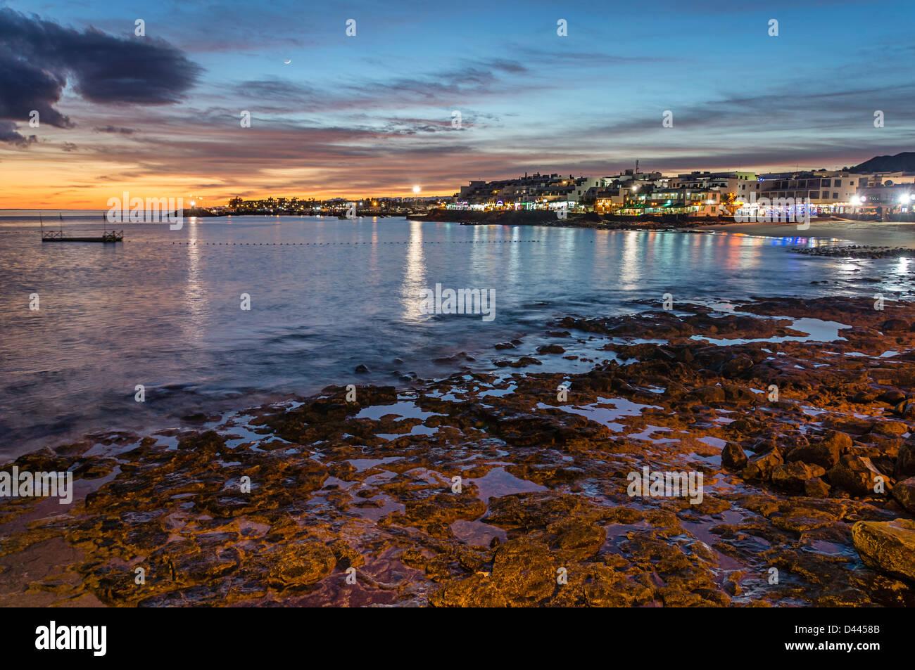 Playa Blanca Sonnenuntergang, Lanzarote, Kanarische Inseln, Spanien Stockbild