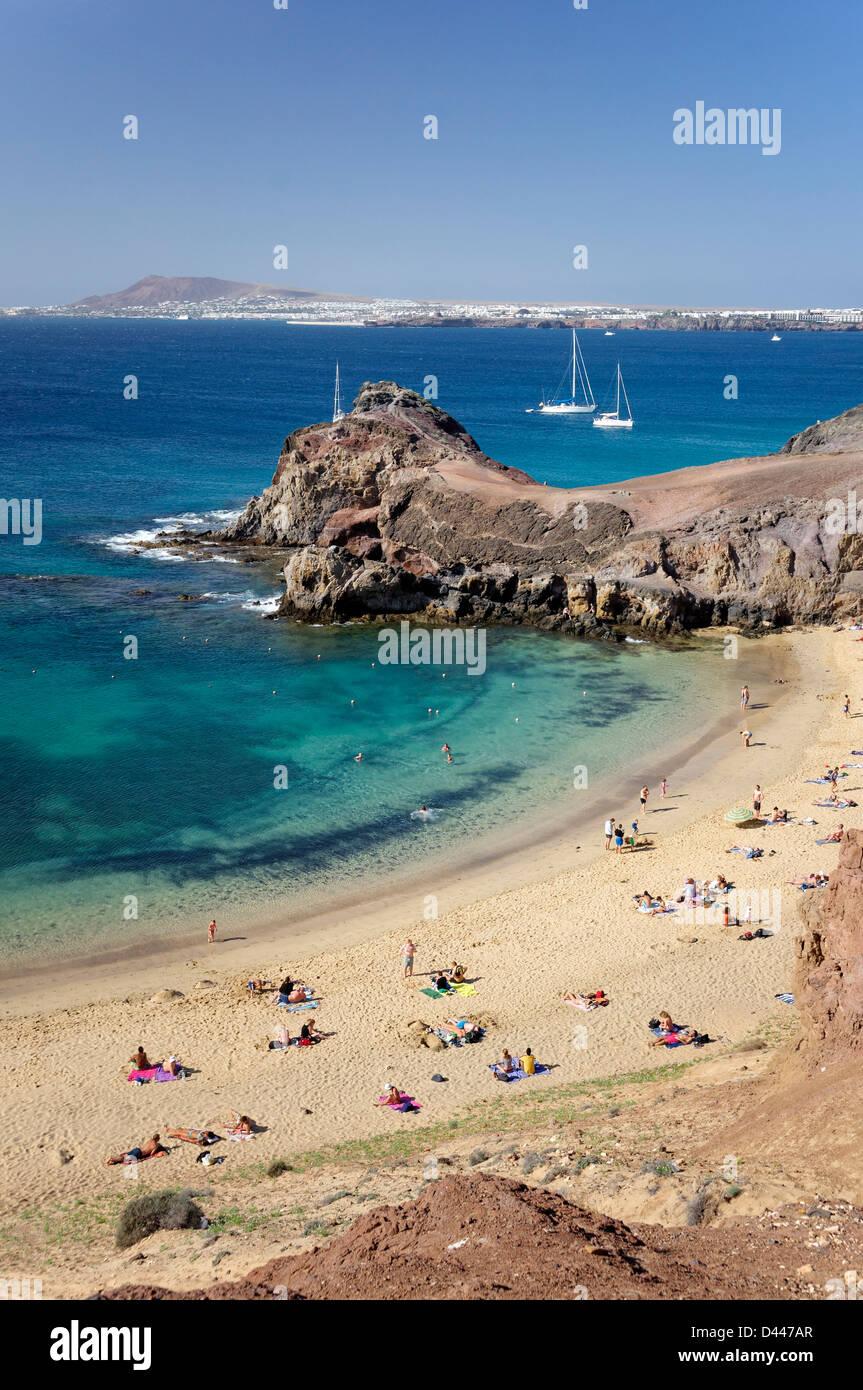 Papagayo Strand, Playa del Papagyo, Lanzarote, Kanarische Inseln, Spanien Stockbild