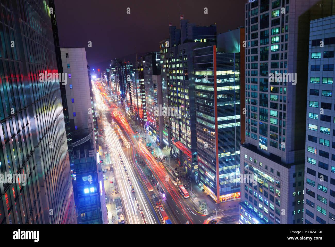 Gangnam Bezirk von Seoul, Südkorea. Stockbild