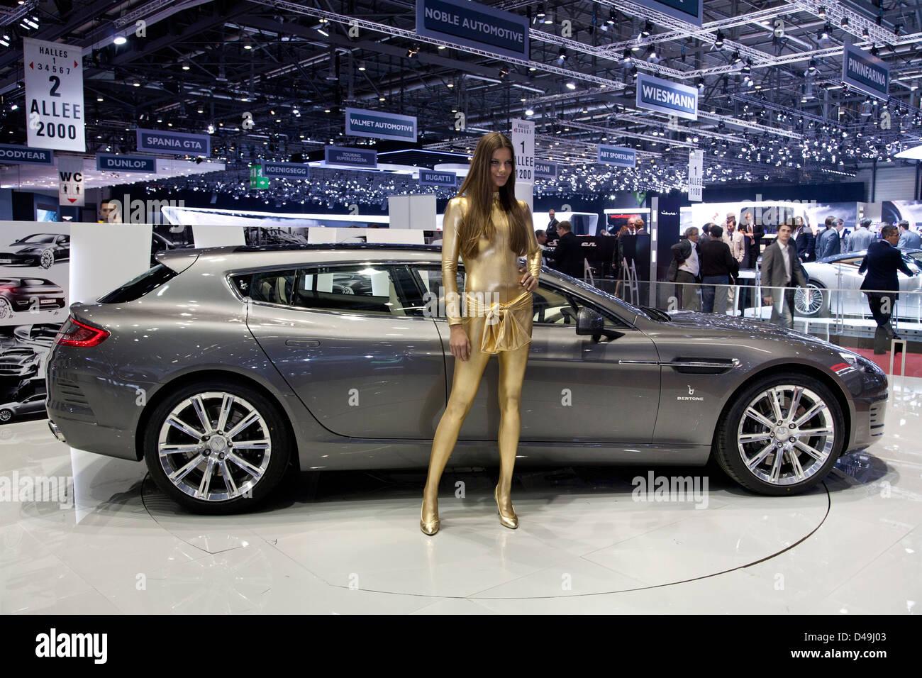 Bertone Jet 2 + 2 Familienstil Aston Martin Rapide. Genfer Autosalon 2013 Stockbild