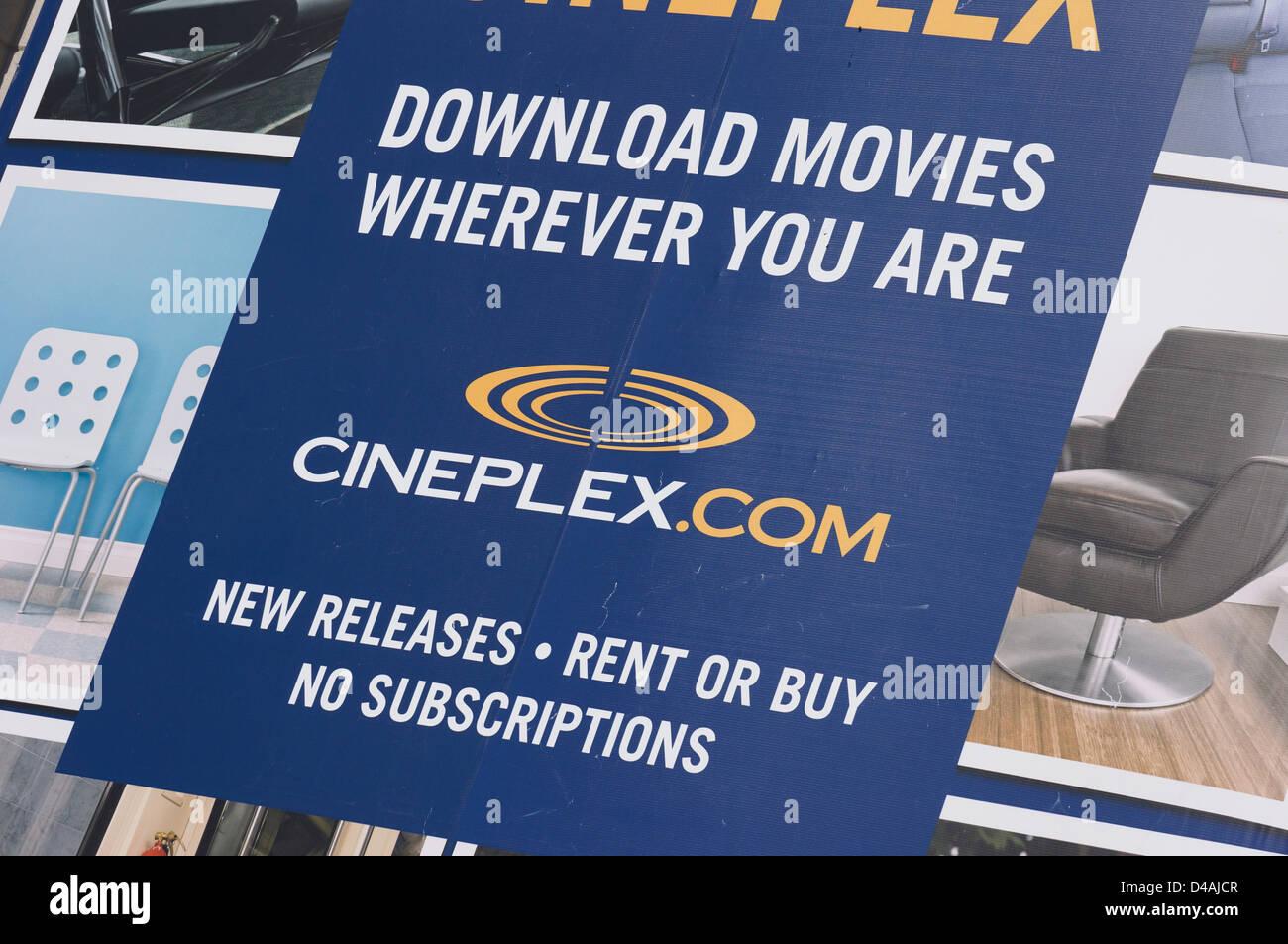 Cineplex Download Filme Ad closeup Stockbild