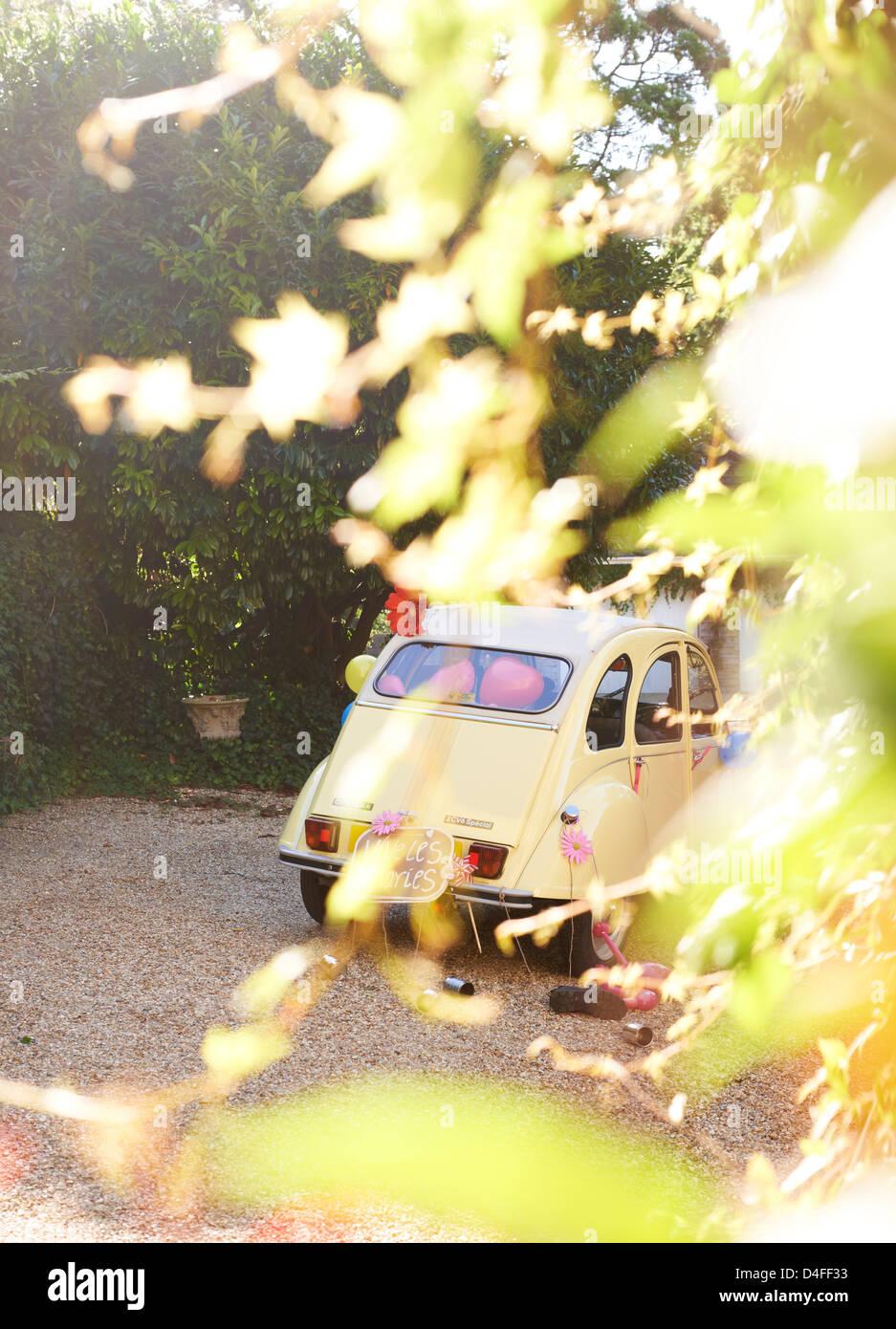Gelbes Auto verdeckt durch Blätter Stockbild