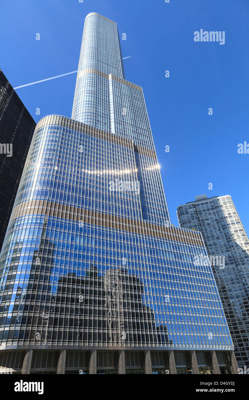Trump Tower, Chicago das zweithöchste Gebäude, Chicago, Illinois, USA Stockbild