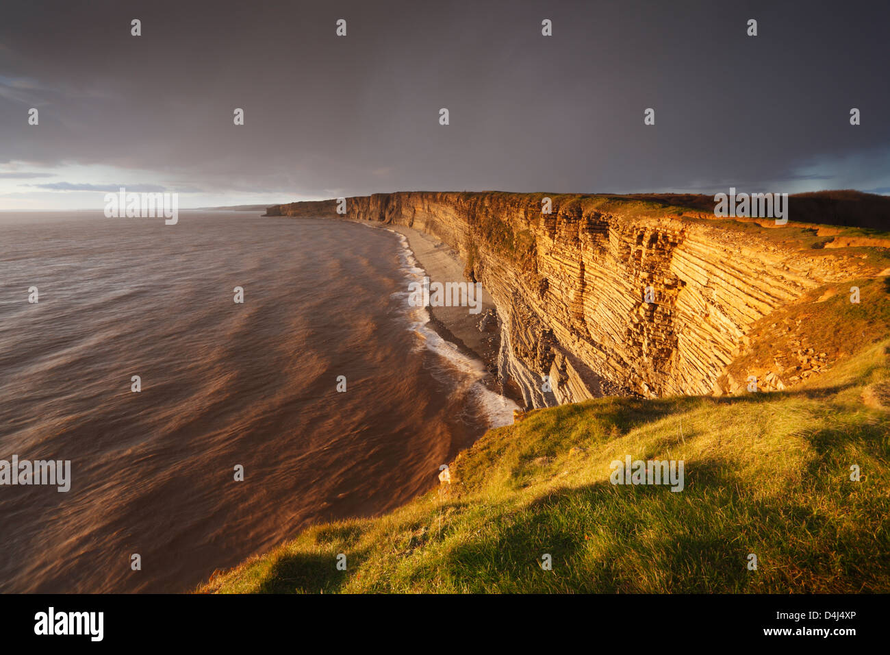 Glamorgan Heritage Coast von Nash Punkt. Vale von Glamorgan. Wales. VEREINIGTES KÖNIGREICH. Stockbild