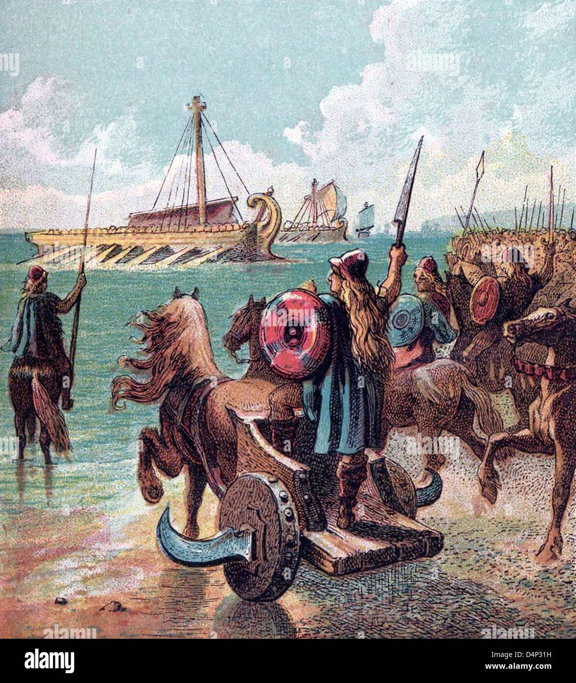 Alte Briten gegen die römischen Landungen Stockbild