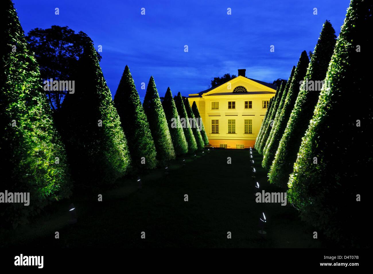 Gunnebo Slott, Nachtbeleuchtung, Mölndal, Schweden, Europa Stockbild