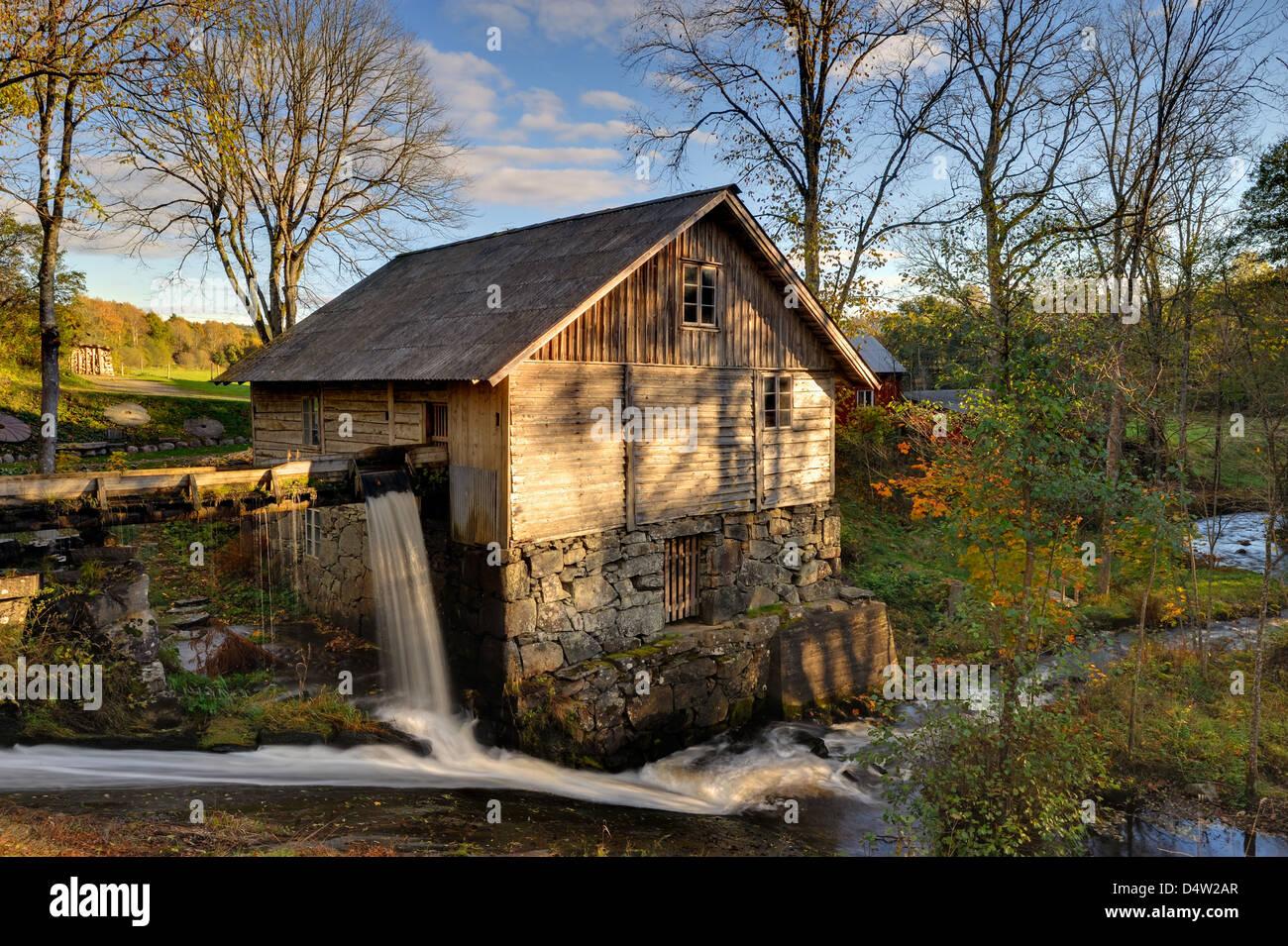 Rustikale Mühlengebäude in Halland, Schweden, Europa Stockbild