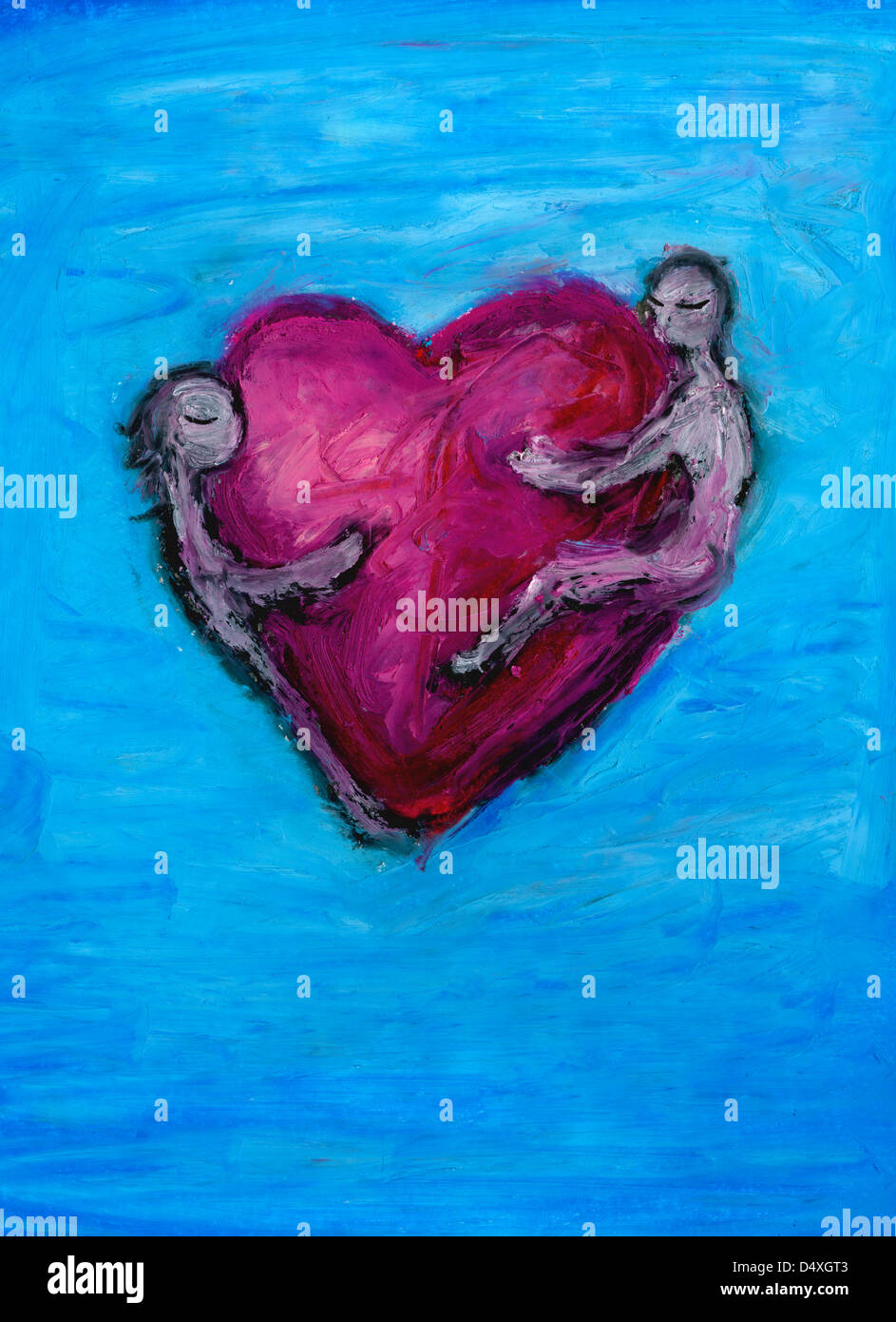Zwei liebende Herzen umarmen. Stockbild