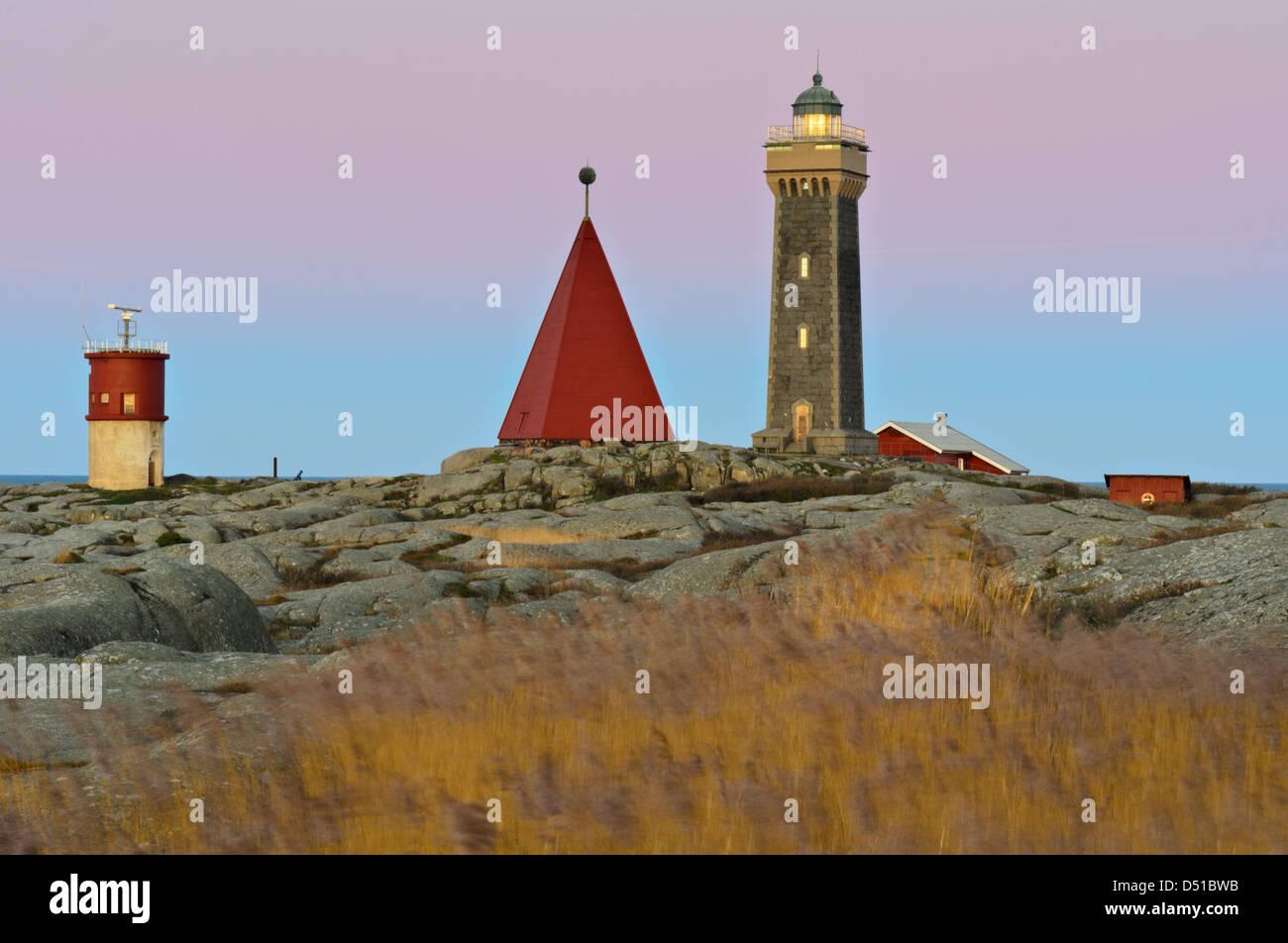 Leuchtturm in Vinga, Göteborg, Schweden, Europa Stockbild
