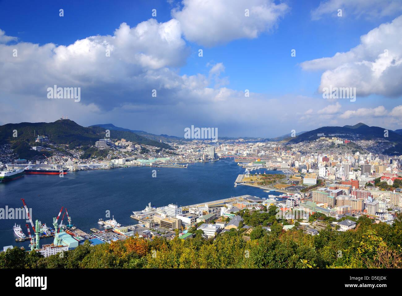Ansicht der Bucht von Nagasaki, Japan. Stockbild