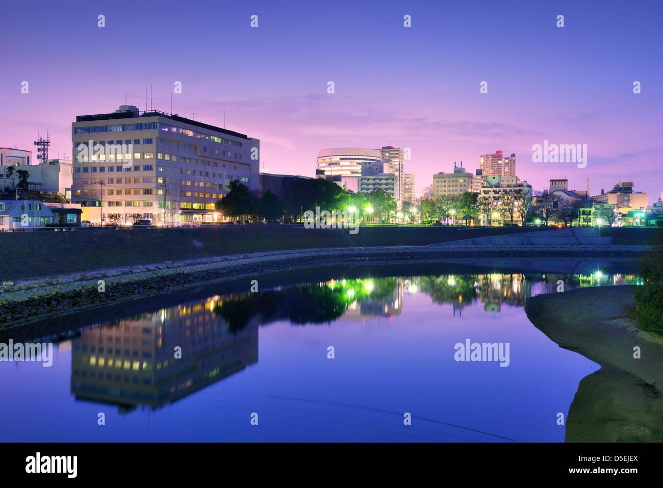 Okayama, Japan Stadtbild am Fluss Asahi. Stockbild